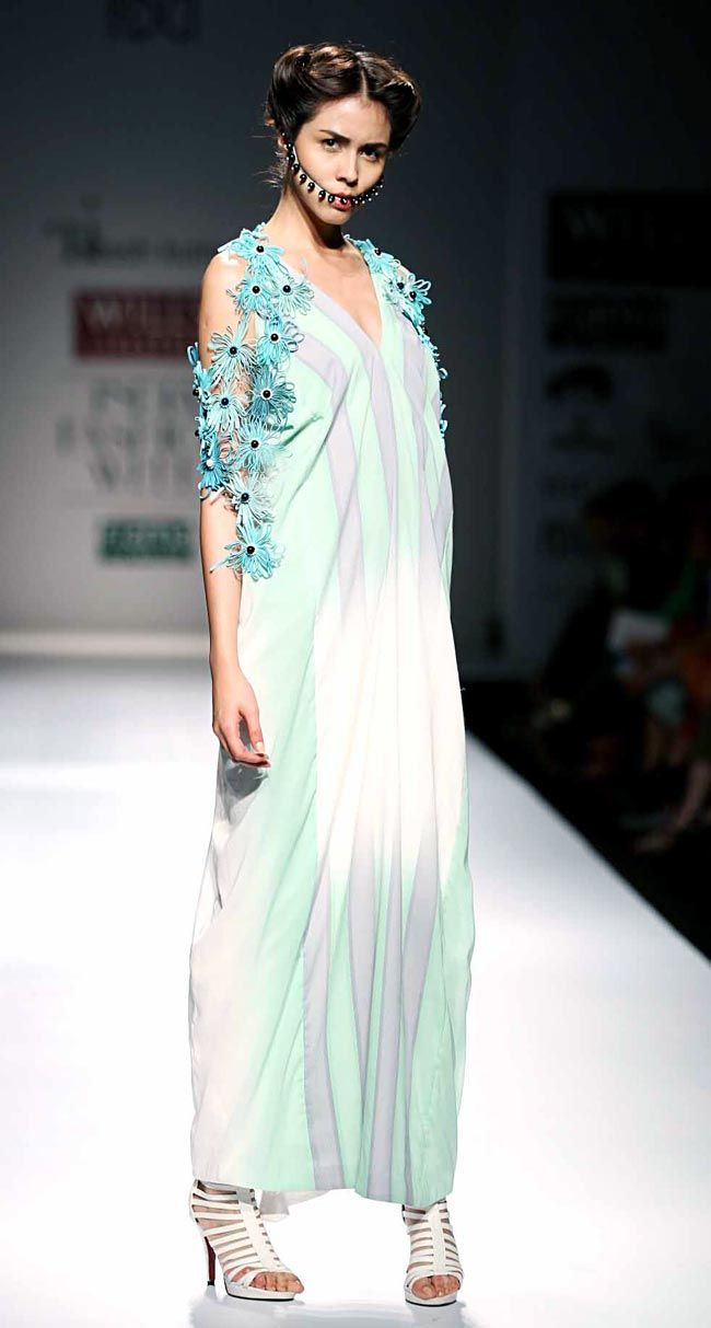 Model on the ramp for Ritesh Kumar on Day 4 of Wills India Fashion Week. #Fashion #Style #Beauty #WIFW