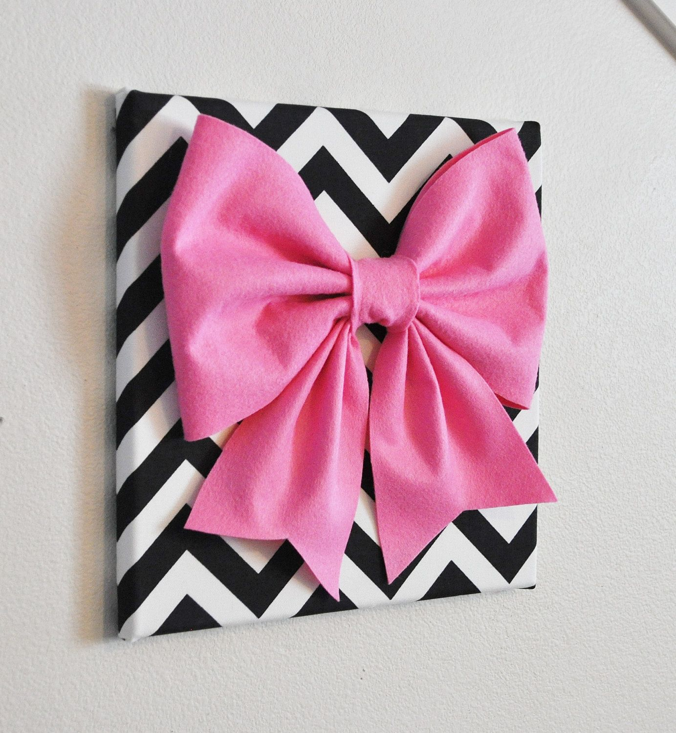 Large Pink Bow on Black and White Chevron 12 x12\