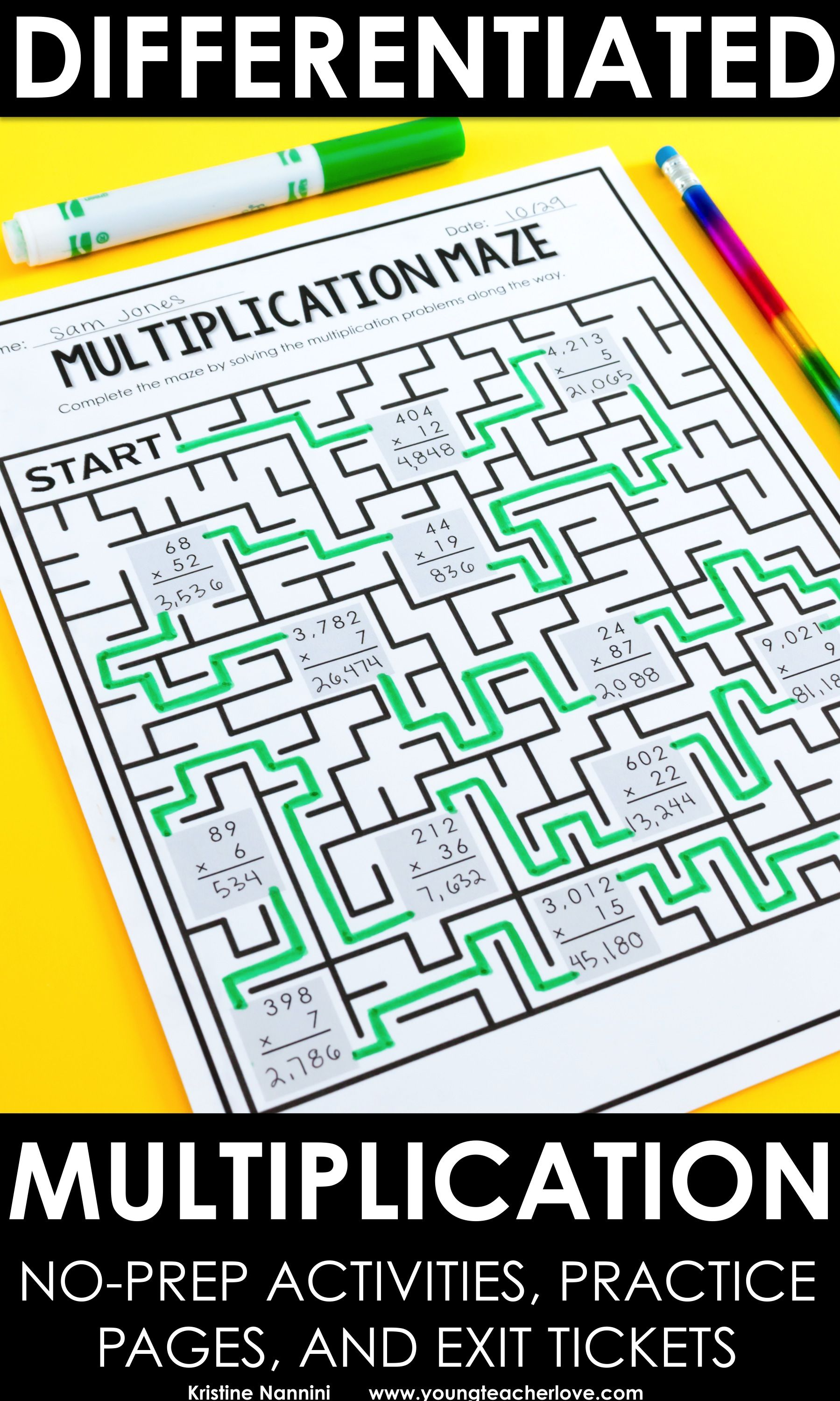 Multiplication No Prep Activities and Exit Tickets (Differentiated ...