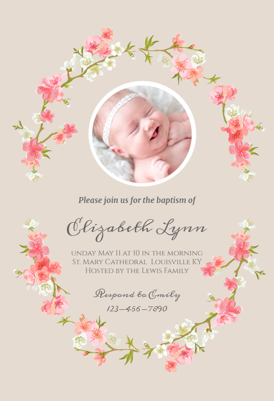 floral baby free baptism christening invitation template