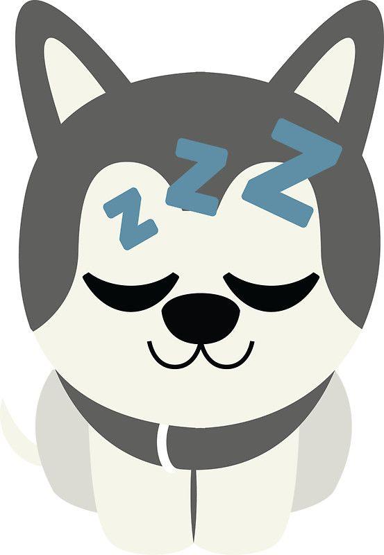 Siberian Husky Emoji Sleepy and ZZZ Look | Sticker in 2019