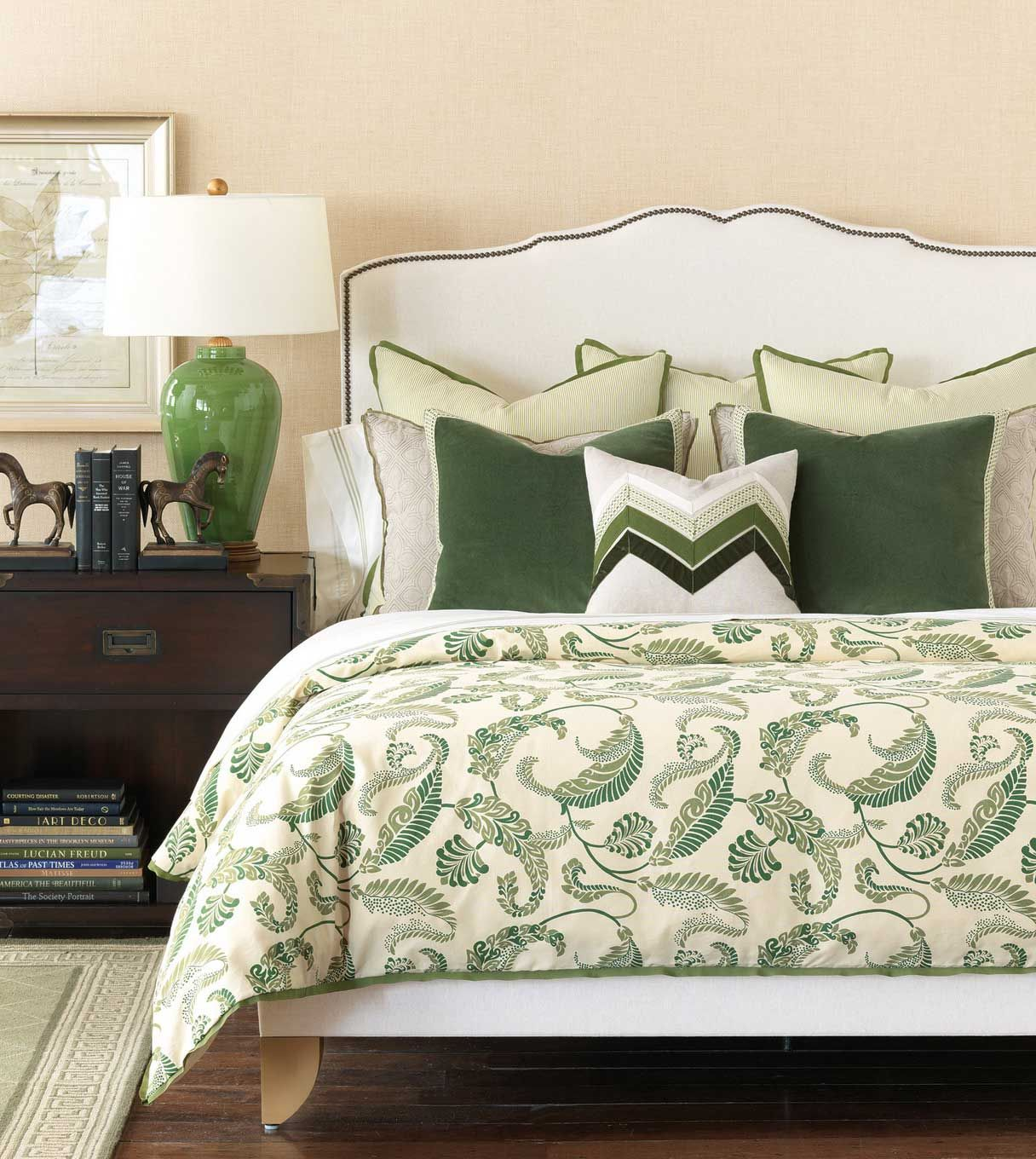 Arranging Throw Pillows On Bed : Home Design and Interior Design Gallery of Awesome Floral White Cream Green Decorative Pillows ...