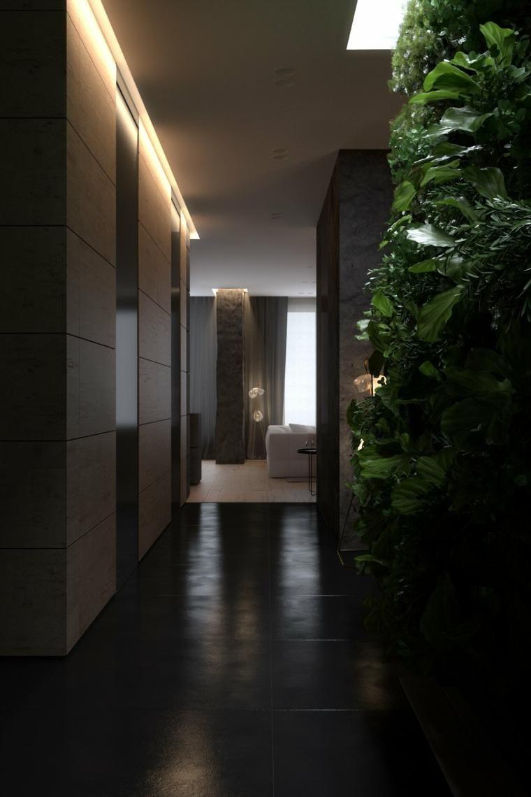 Wohnzimmer des modernen interieurs des hauses interior design haus  dunkle innenarchitektur  zwei modelle