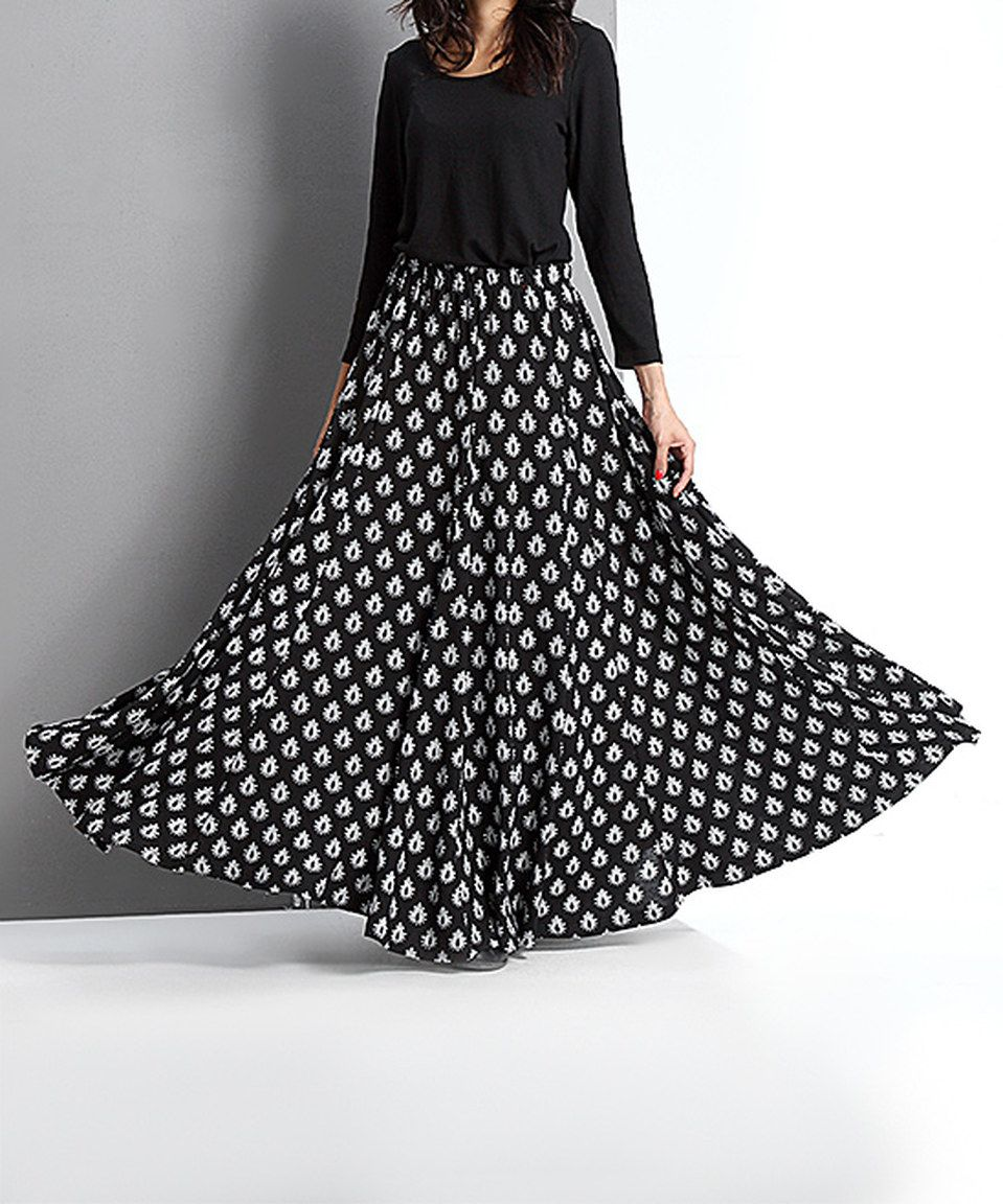 Another great find on #zulily! Reborn Collection Black Boteh Maxi Skirt by Reborn Collection #zulilyfinds