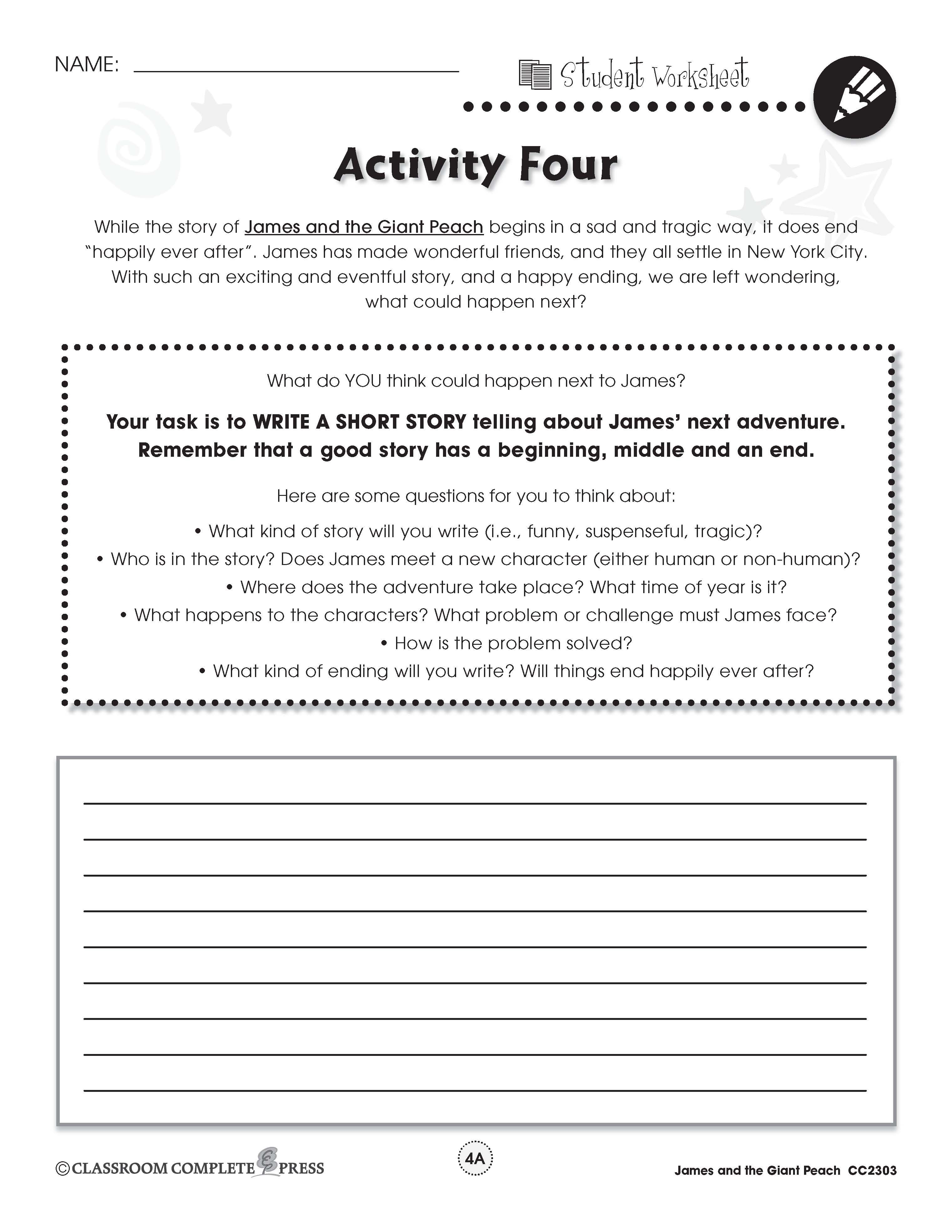 Write About James Next Adventure With This Free Activity