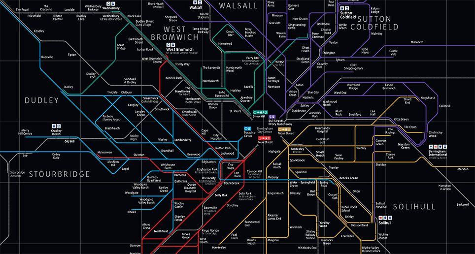 Birmingham City Centre Interchange network diagram A To B