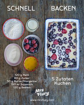 Schneller veganer Kuchen mit 5 Zutaten - gesund backen - Mrs Flury