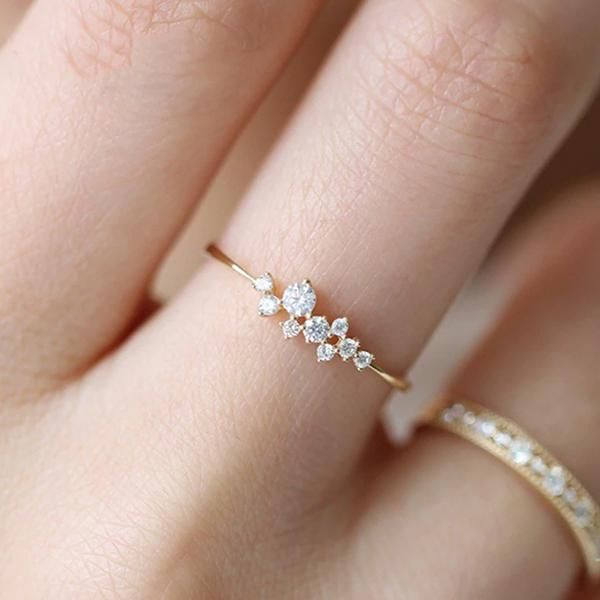 Blue Oval Diamond Full Zirconia Rings for Women Stylish Gorgeous Ring Jewelry Gift for Wedding Engagement Under 5 Dollar