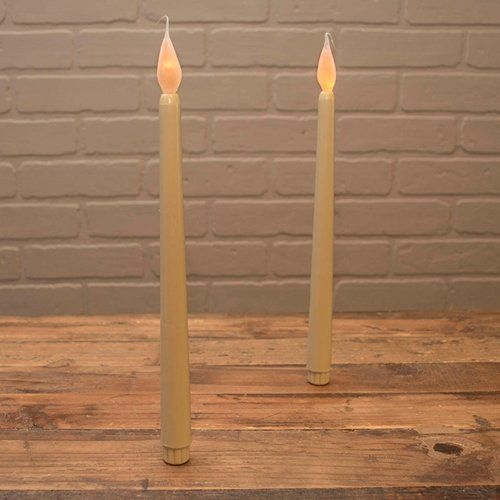 Led Beige Taper Candle Stick With Silicone Bulb 11 Inch 2 Pack