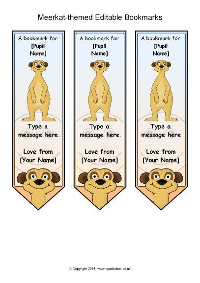 Meerkat-Themed Editable Bookmarks (SB11475) - SparkleBox - book template microsoft word