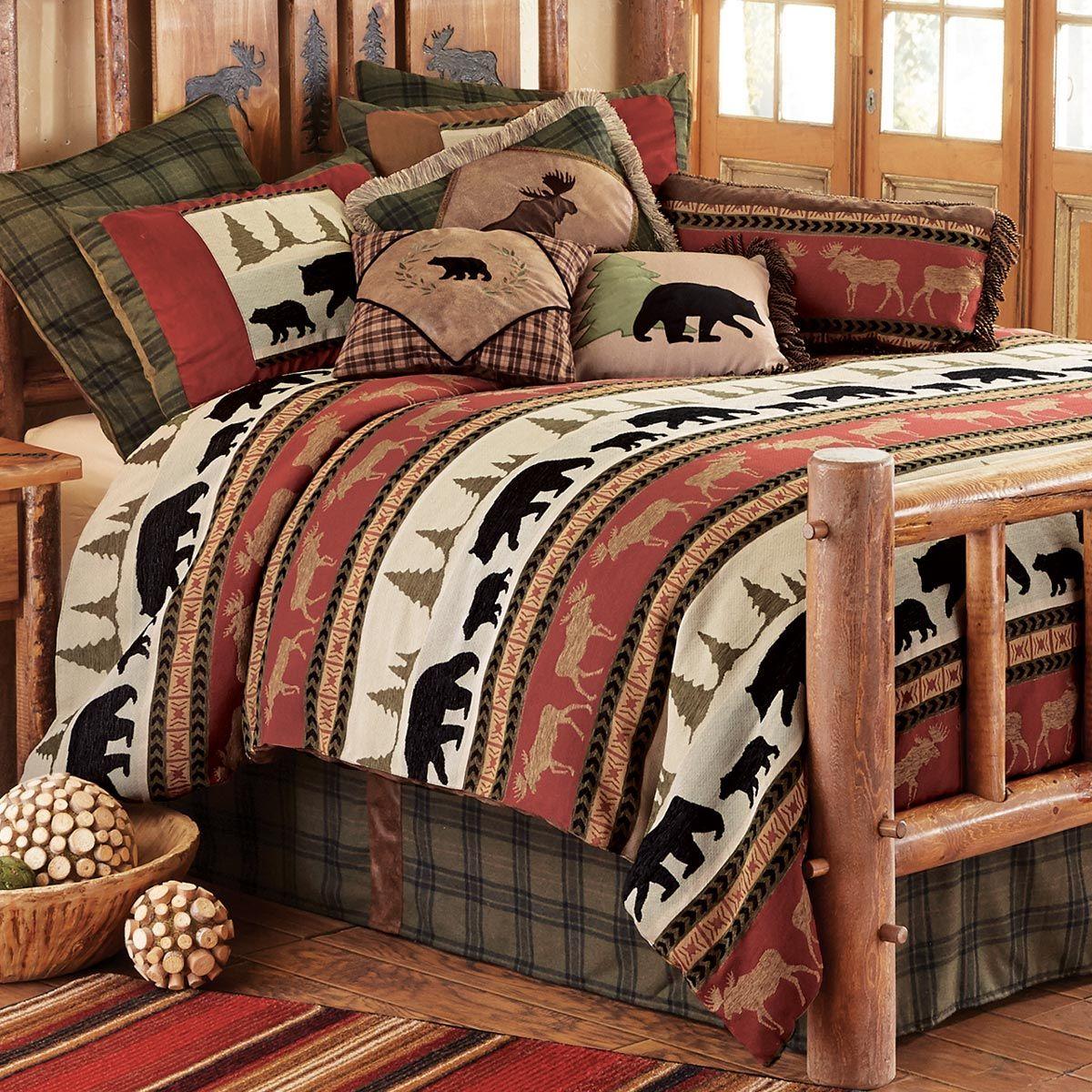 Woodland Trails Bear Bed Set Queen Rustic Bedding Sets Lodge Bedding Log Cabin Bedding
