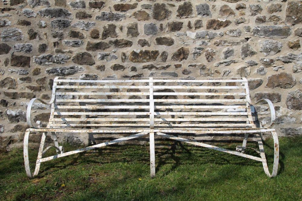 English Edwardian Antique Iron Garden Bench Seat Garden Bench