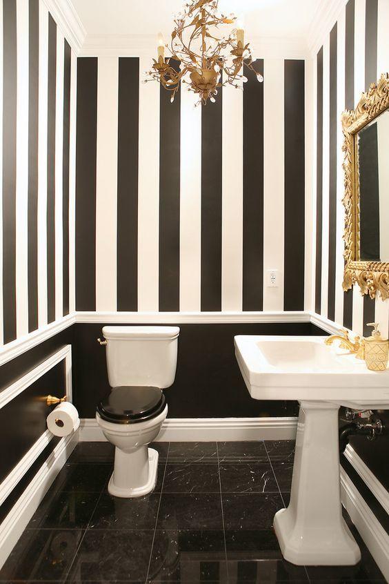 Powder Room Black White Bathrooms Black And White Decor White