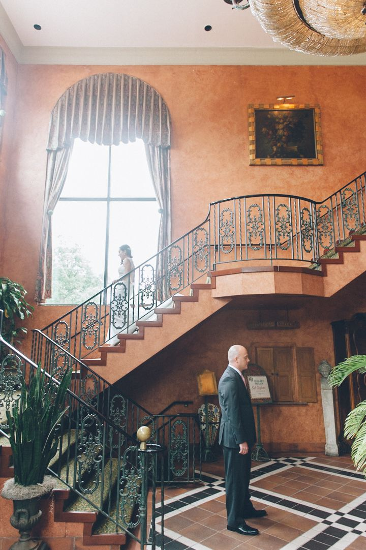 First Look By The Stairs At Highlawn Pavilion In West Orange NJ With Wedding Photographers