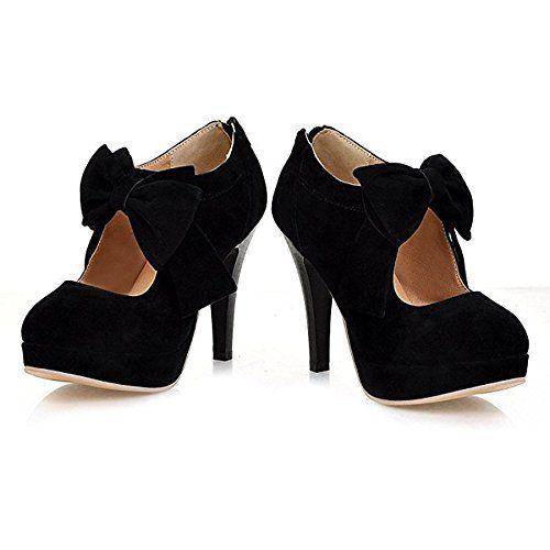 fa2c4a254df6 SYJO Womens Fashion Vintage Small Bowtie Platform Pumps Ladies Sexy ...