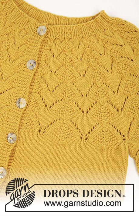 Golden Fairy Cardigan / DROPS 195-23 - Kostenlose Strickanleitungen von DROPS Design