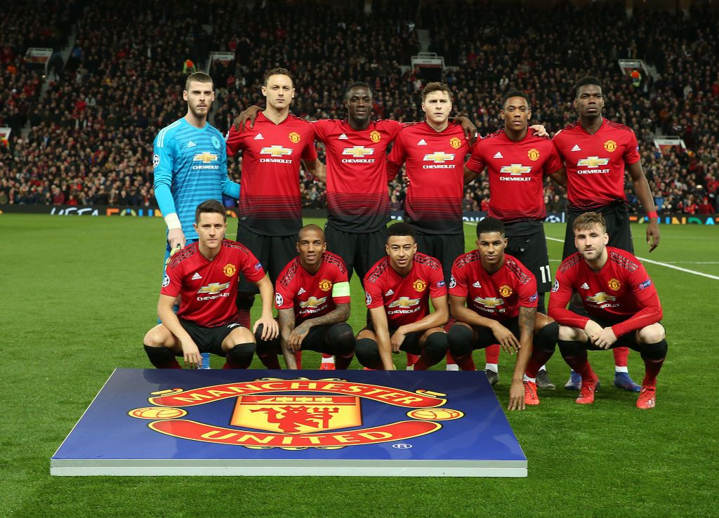 The Manchester United team lines up ahead of the UEFA