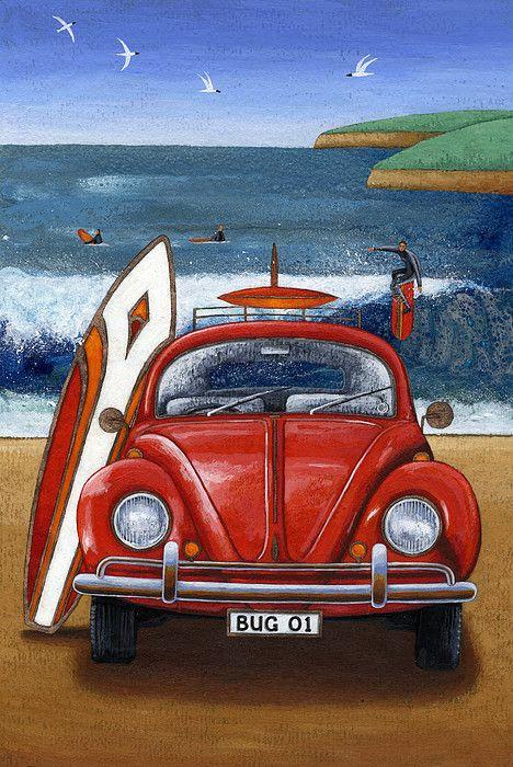 Beetle On The Beach Print by Peter Adderley