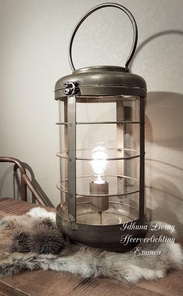Photo of Tafellamp industrieel metaal glas kleur verweerd grijs goud hoogte 54 cm.