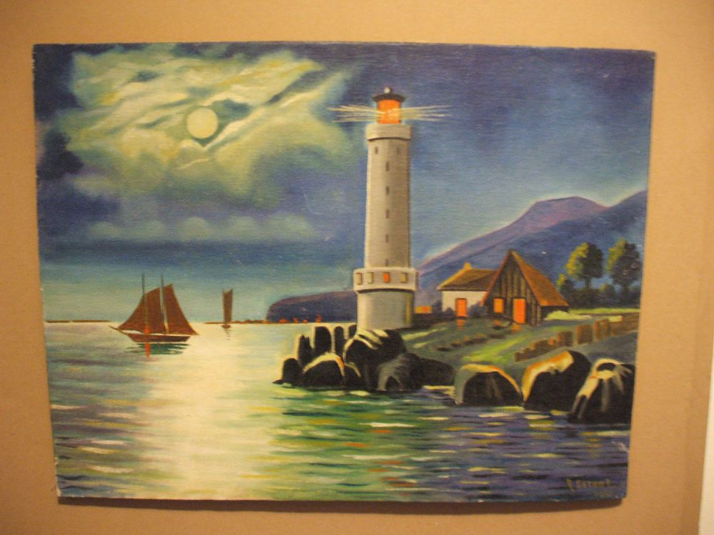 Tableau marine   phare au clair de lune