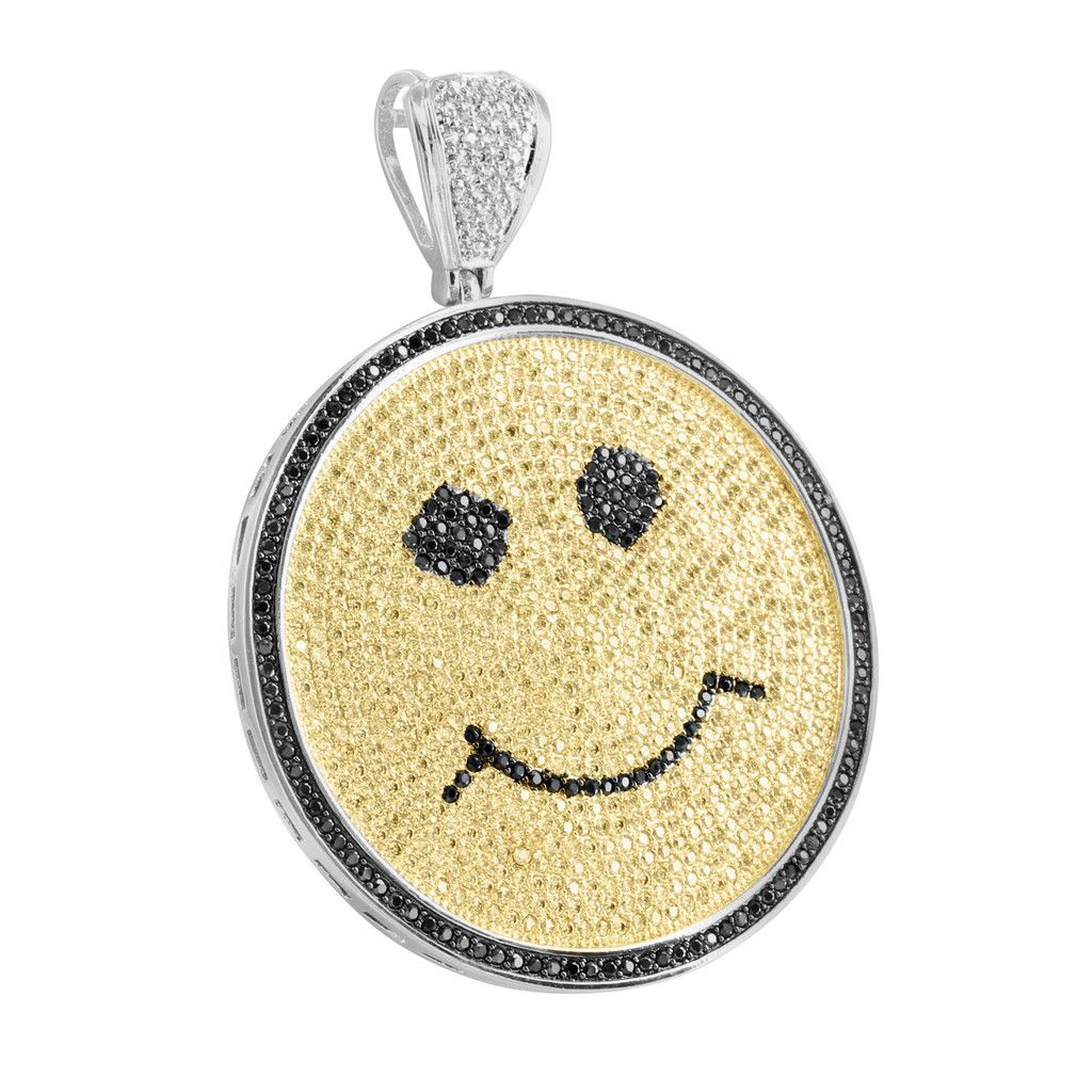 White gold finish yellow black lab diamond smiley face pendant 14k white gold finish yellow black lab diamond smiley face pendant aloadofball Image collections