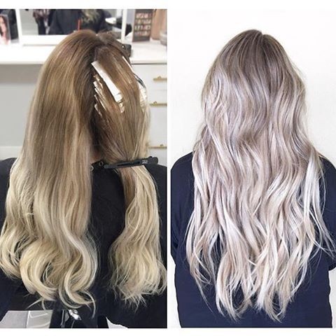 Before and after  Color by @hairbykovia  #hair #hairenvy #haircolor #beforeandafter #blonde #balayage #highlights #newandnow #inspiration #maneinterest