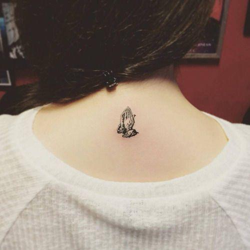 Praying Hands On The Upper Back Tattoo Artist Jay Shin Hand Tattoos For Girls Neck Tattoo Small Hand Tattoos