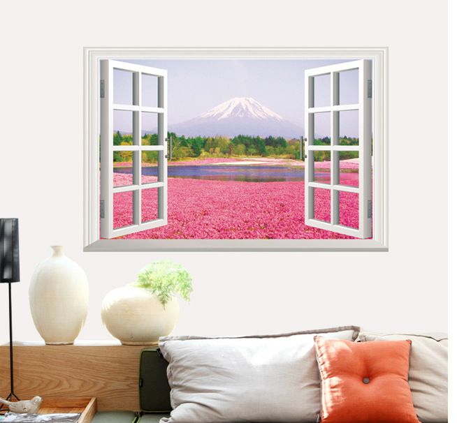 Hot sell Warm Romantic Pink Flower Sea 3D False Window Scenery DIY ...