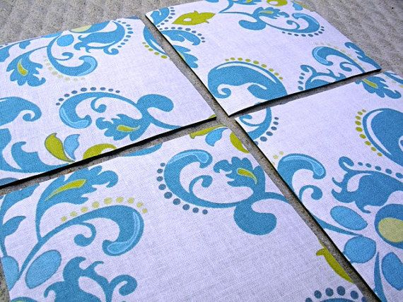 Fabric Coasters Waterproof and Slip Proof Backing  by House406, $10.00 #decor #kitchen