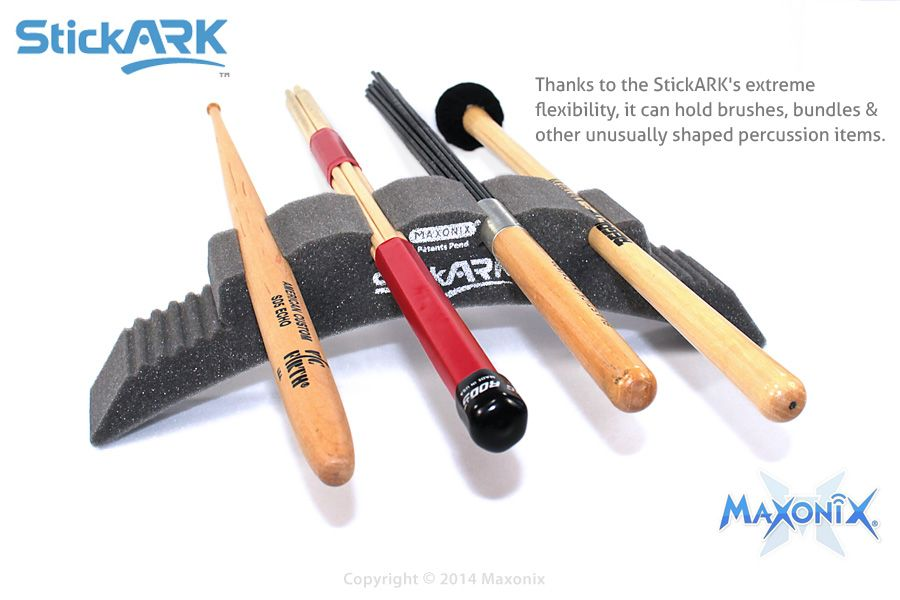 maxonix stickark holds more than just standard drumsticks it holds brushes bundles rods. Black Bedroom Furniture Sets. Home Design Ideas