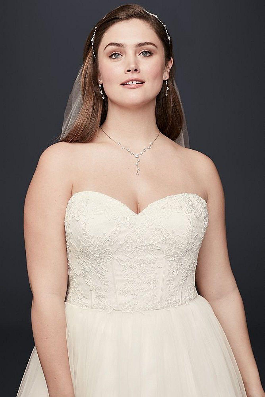 Affordable Plus Size Wedding Dresses   Soft Tulle Lace Corset Plus ...