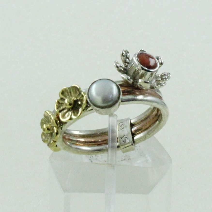 PEARL & CORAL STONE ELEGANT STACK RING 925 HANDMADE STERLING SILVER   #SilvexImagesIndia #Stackable