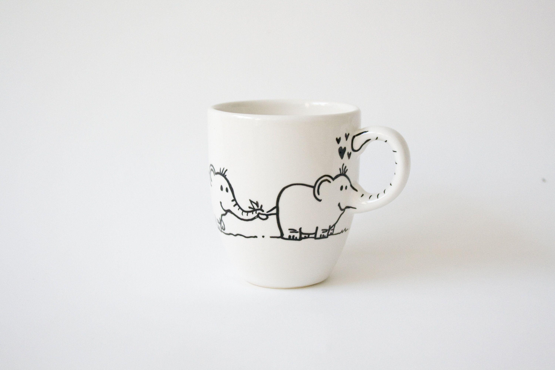 Double elephant-mug with name hand painted