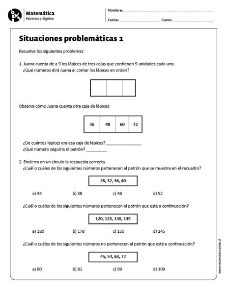 Situaciones Problematicas 1 Matematicas Patrones Fichas