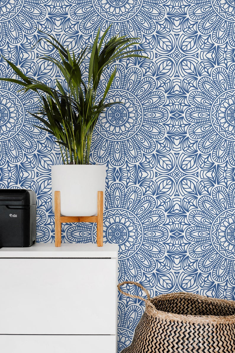 Moroccan Style Removable Wallpaper Blue Moroccan Tile Peel Etsy In 2020 Removable Wallpaper Bedroom Moroccan Wallpaper Moroccan Tiles Pattern