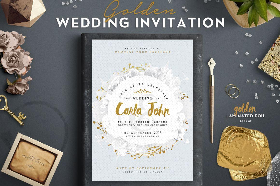 Golden Foil Wedding Invitation I by The Wedding Shop on ...