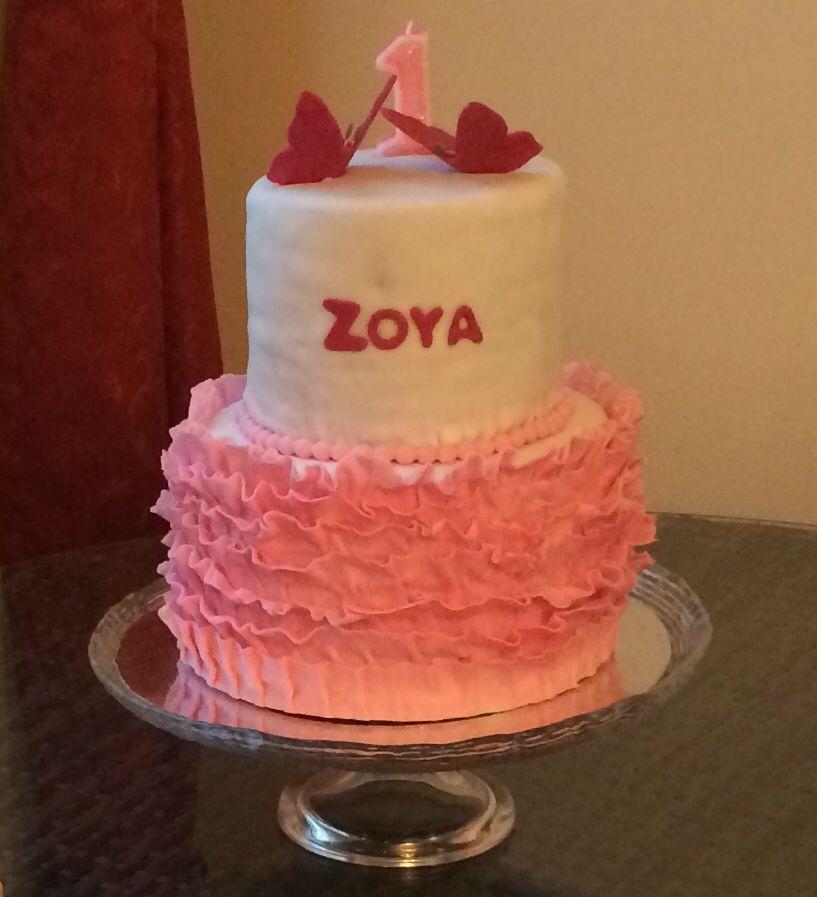 Zoya's 1st Birthday Cake With Tutu Ruffles In Fondant And
