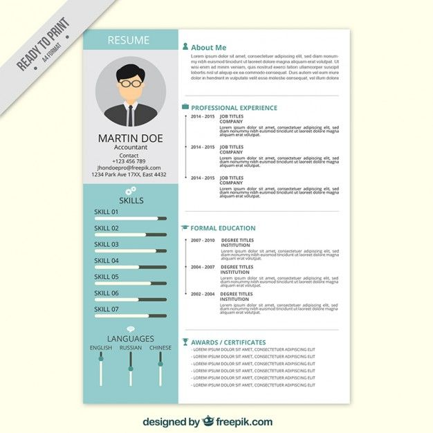 Professional Resume In Flat Style Resume Professional Resume Resume Design