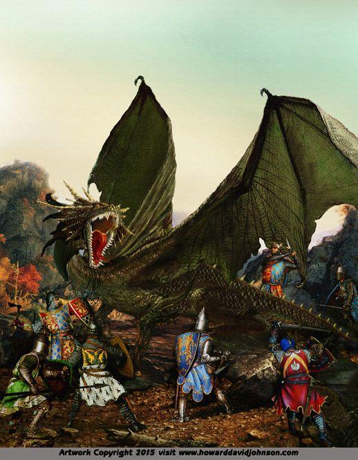 green dragon knights champions cristondom painiting