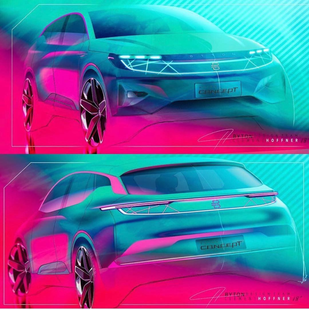 Byton M-Byte Concept exterior official sketches by @clement_hoffner  #carsketches #Byton #MByte  #electricvehicle...