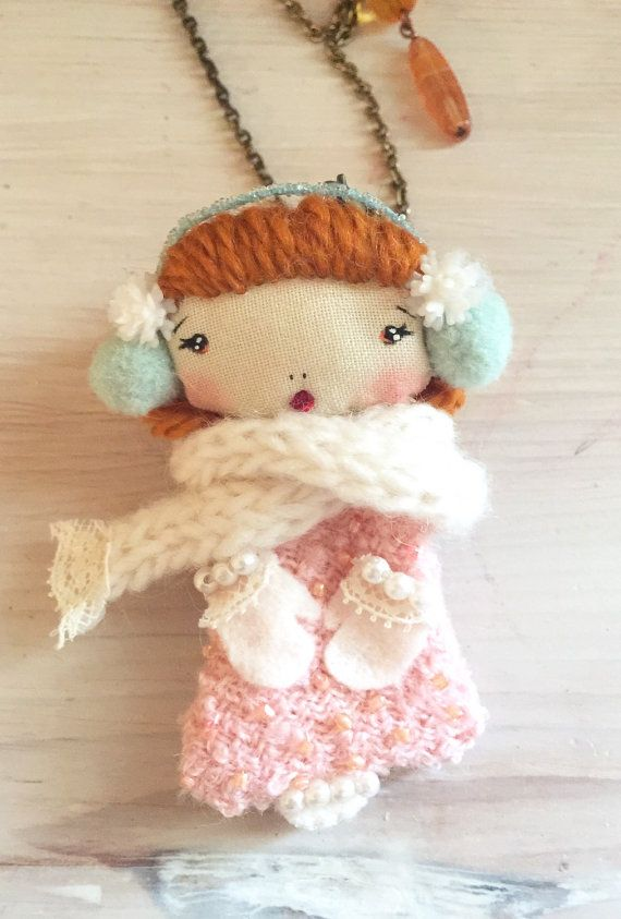 Winter Pink Cute Doll Necklace 2 in 1 & brooch by PoudreRose