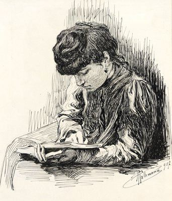 Romeo Rathmann, Donna che legge, 1907 - #ARTEmisiaLegge - @Libriamo Tutti