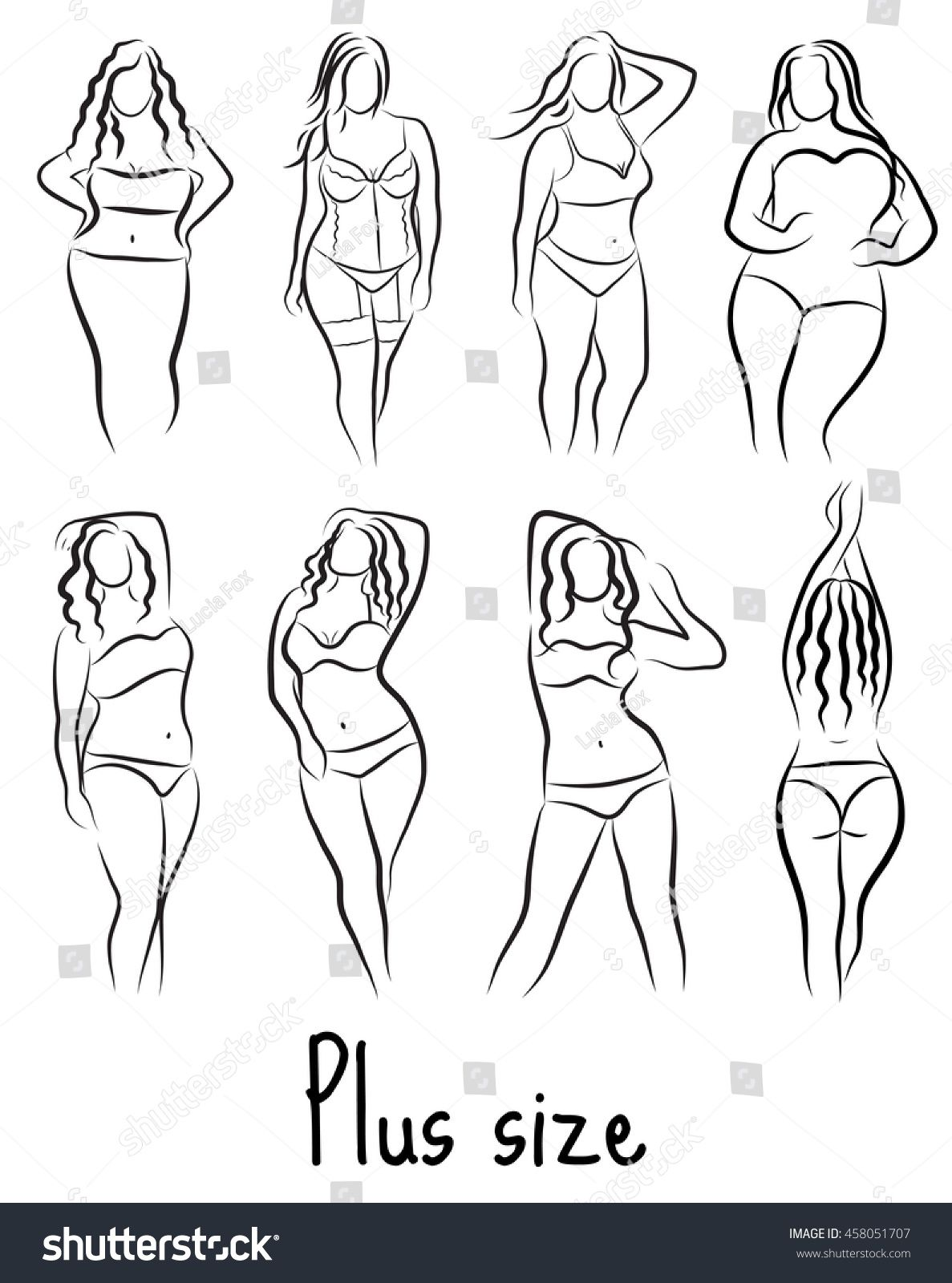 Photo of Set Girl Silhouette Sketch Plus Size Stock Vector (Royalty Free) 458051707