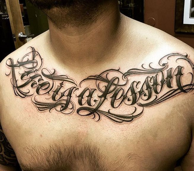 Lettering Chicano Tattoo At Chest Tattoo Design Ideas Chicano