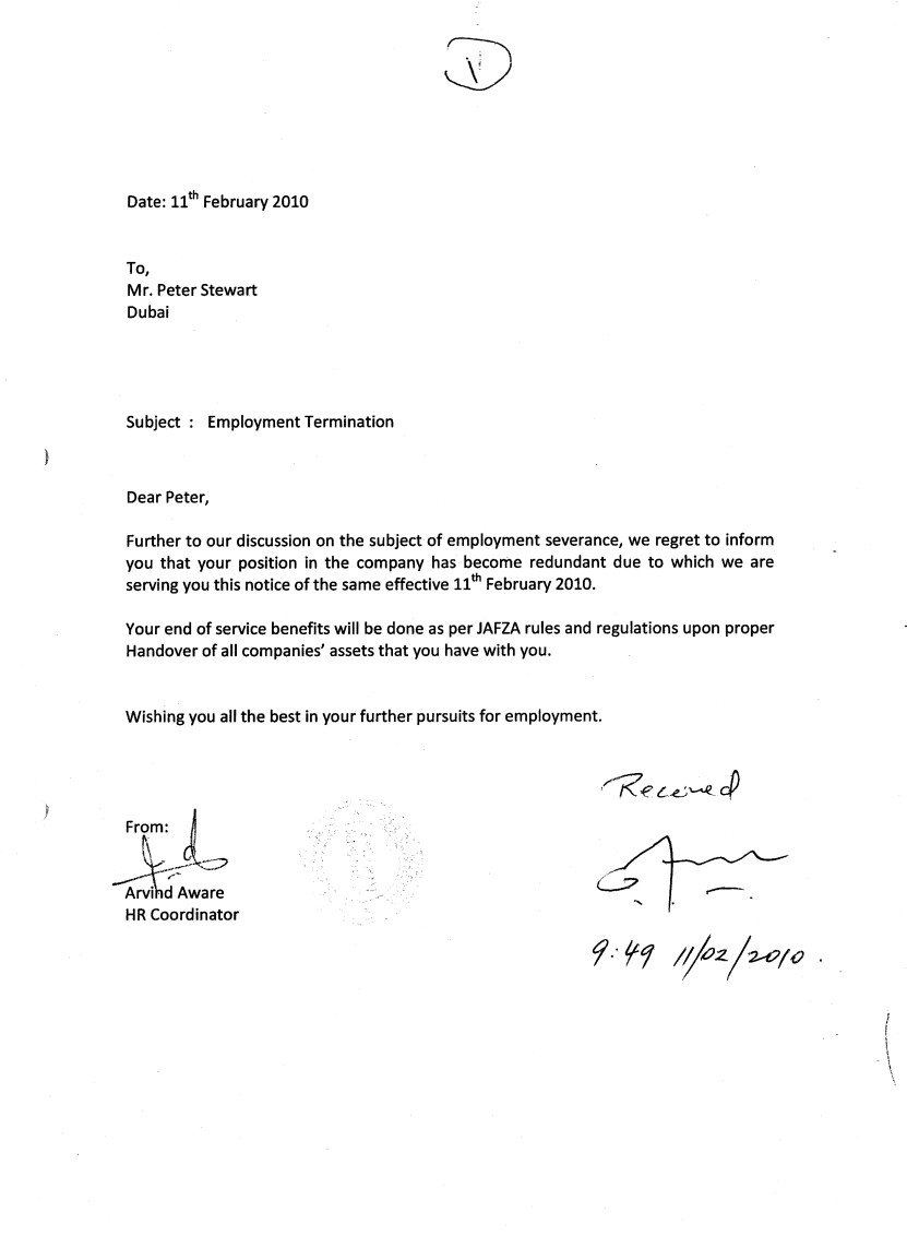 contract termination letter format uae use template