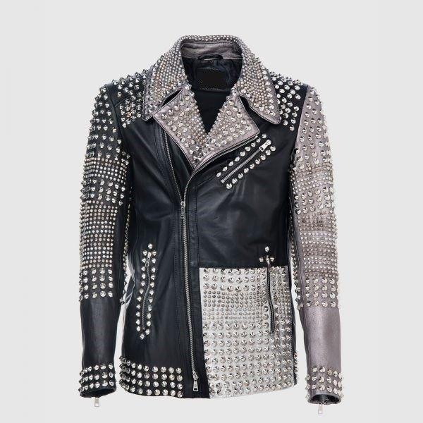361f4a5ec New Philipp Plein Multicolor Full Multi Studded Leather jacket ...