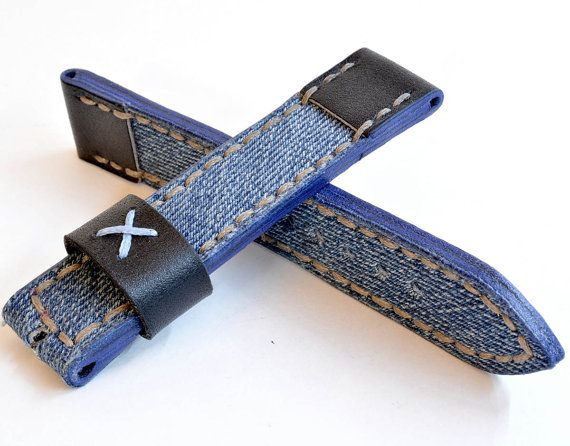 20mm Black Leather With Denim Watch Strap Handmade Etsy In 2020