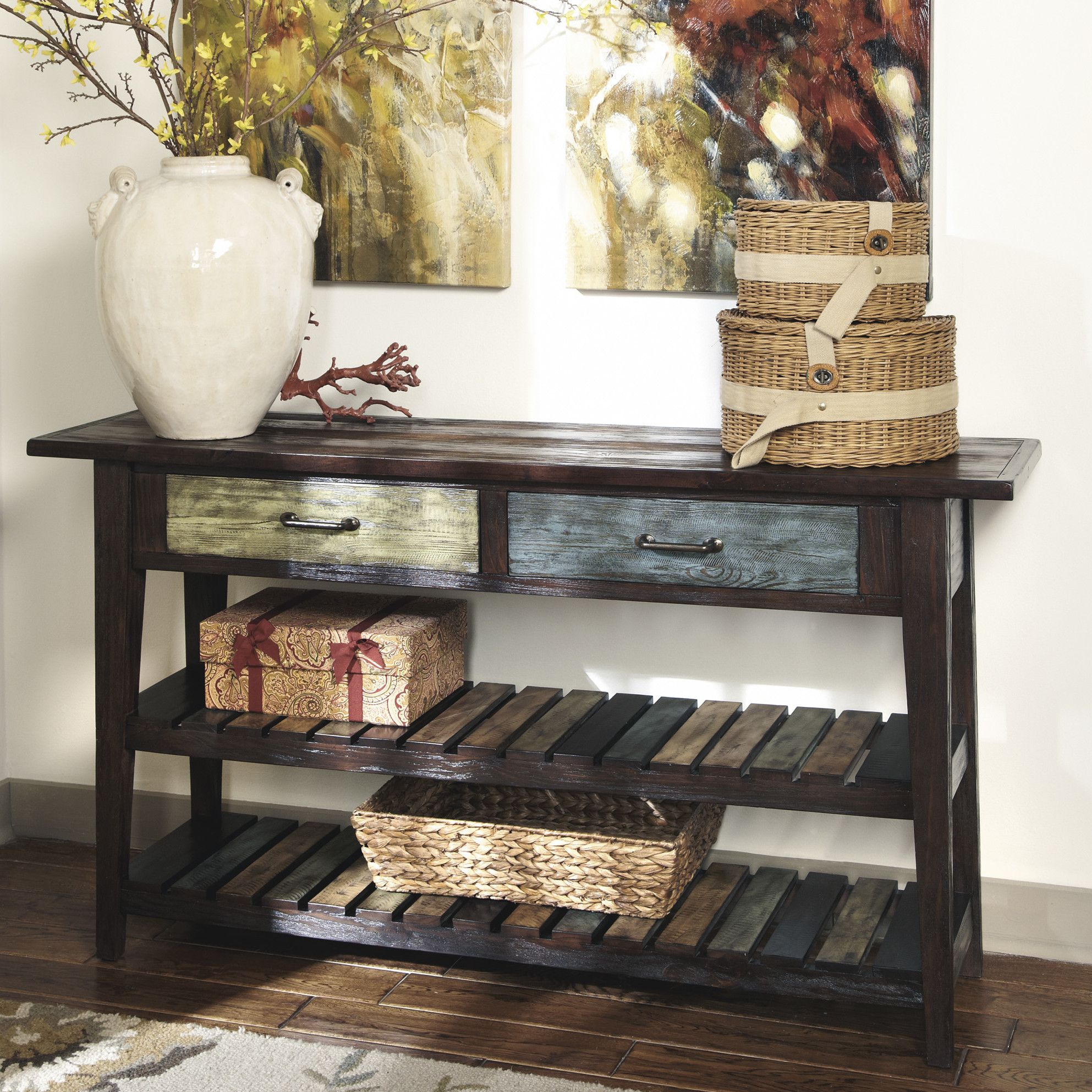 Table consoles gallery coffee table design ideas august grove lexington console table console tables consoles tables rectangle rustic brown rustic veneers wood and geotapseo Gallery
