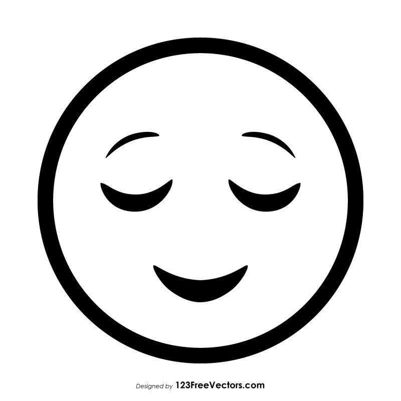 Relieved Face Emoji Outline Emoji Coloring Pages Vinyl Record Art Emoji Images