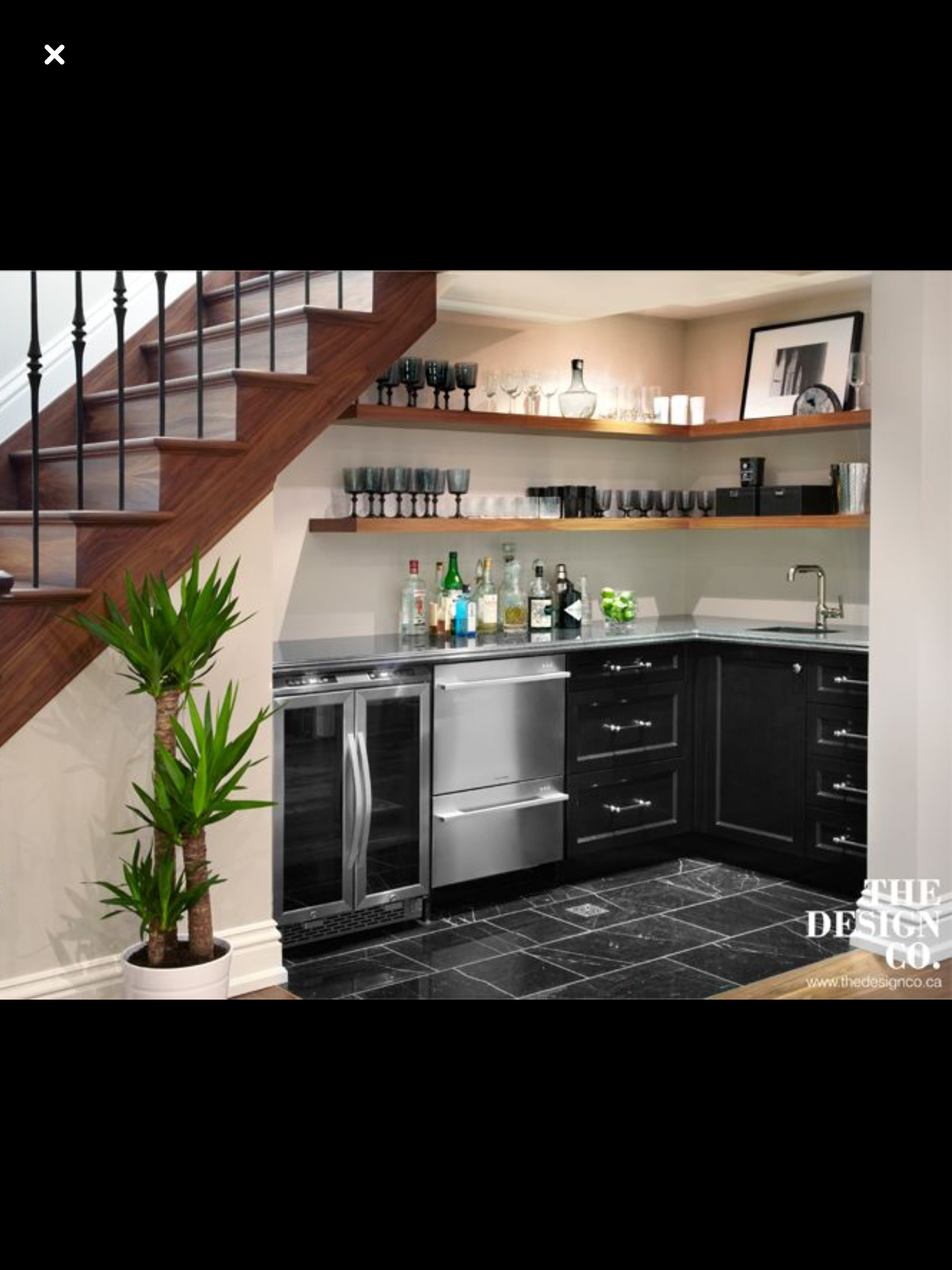L Shape Possibility But With Full Fridge And Sink No Dishwasher Or Wine Fridge Kitchen Under Stairs Bar Under Stairs Basement Stairs